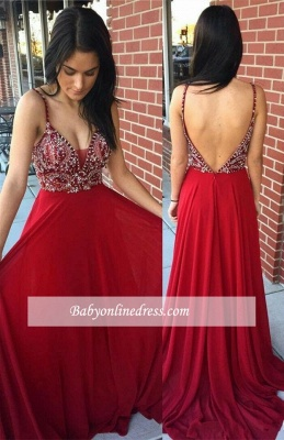 Beaded Sexy A-Line Long Spaghetti-Straps Prom Dresses_1