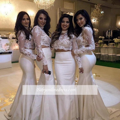 Lace Two-Piece Cheap High-Neck Mermaid Long-Sleeve Bridesmaid Dress_1