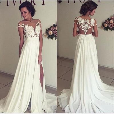 Summer Chiffon  Lace Top Short Sleeves Side Slit Wedding Dresses_3