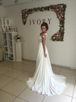Summer Chiffon  Lace Top Short Sleeves Side Slit Wedding Dresses_7