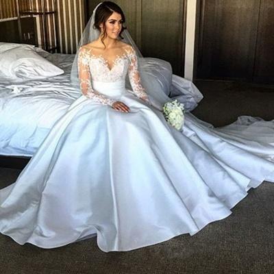 Elegant Satin A-Line Wedding Dresses Long Sleeves Appliques Bridal Gowns_3