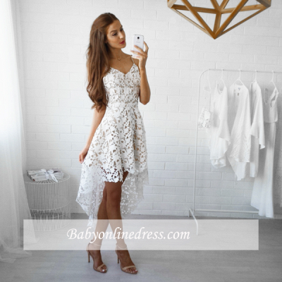 White Hi-Lo Lace V-Neck Straps Spaghettis Homecoming Dresses_1