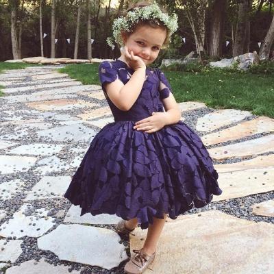 Short Sleeve Knee-Length Lace Jewel Lovely Flower Girl Dress_3