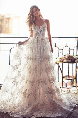 Spaghettis-Straps Backless Lace Sweetheart-Neck A-line Elegant Wedding Dresses_2