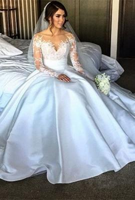 Elegant Satin A-Line Wedding Dresses Long Sleeves Appliques Bridal Gowns_1