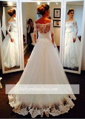 Elegant Tulle Off-the-shoulder Long Sleeves Lace Wedding Dress with Bow_1