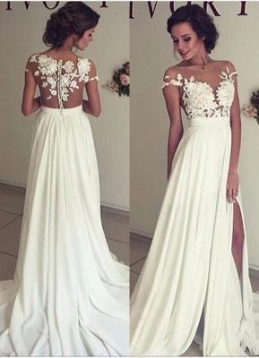 Summer Chiffon  Lace Top Short Sleeves Side Slit Wedding Dresses_1