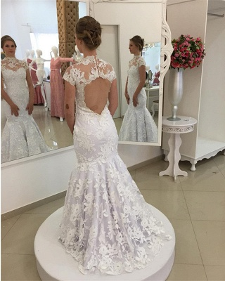Mermaid Zipper Newest Lace Pearls High-Neck Appliques White Wedding Dress_4