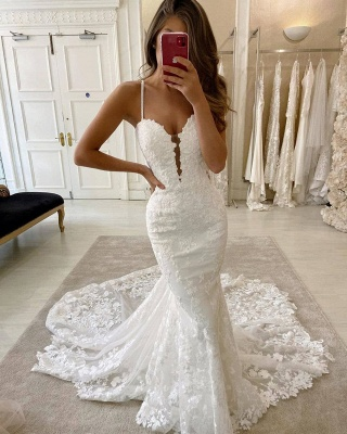 Simple Style Spaghetti Strap V Neck Lace Mermaid Wedding Dresses_2