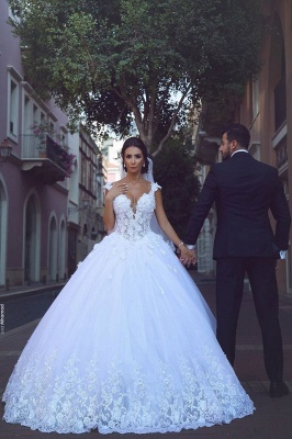 Elegant V-Neck Appliques Bridal Ball Gowns Sleeveless Tulle Wedding Dresses_2