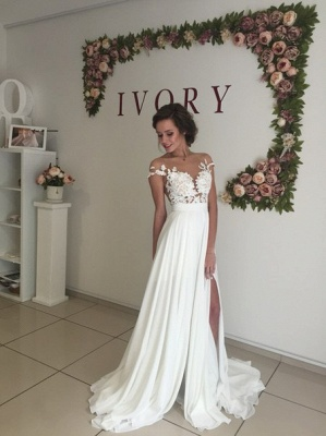 Summer Chiffon  Lace Top Short Sleeves Side Slit Wedding Dresses_8