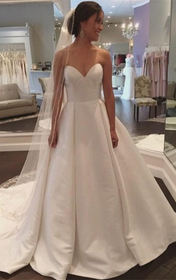 Sleeveless Sweep-Train White Sweetheart Simple A-line Wedding Dress_2