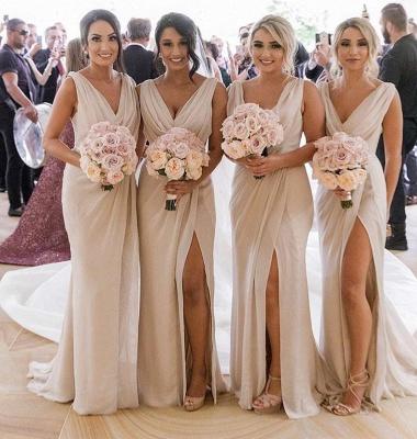 Simple Chiffon Long V-Neck Sleeveless Side-Slit  Bridesmaid Dresses_2