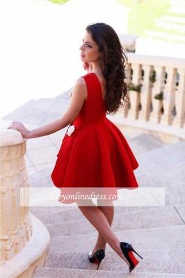 Sleeveless Red Flowers Sexy Short Homecoming Dress_1