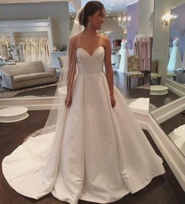 Sleeveless Sweep-Train White Sweetheart Simple A-line Wedding Dress_3