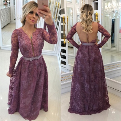 Glamorous A-Line Buttons Long-Sleeves Lace Evening Dresses_3