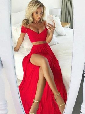 Elegant Red Two Pieces Prom Dresses | Off-The-Shoulder Slit Side A-Line Evening Dresses_1