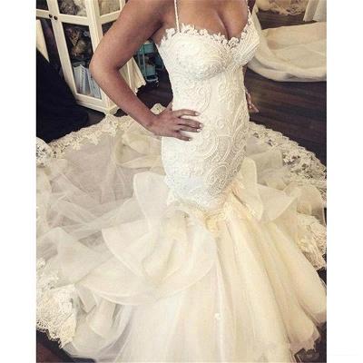 Elegant Mermaid Wedding Dresses Spaghettis Straps Bridal Gowns with Ruffles_3