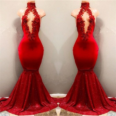 Shiny Red Mermaid Prom Dresses High Keyhole Neckline Evening Gowns_3