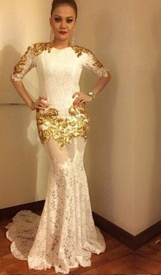 2018 Sexy Lace Mermaid Prom Dress Half-Sleeves Gold Appliques Evening Gowns_3
