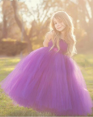 Purple Strapless Flower Girl Dresses Tulle Floor Length Girl Dresses_2