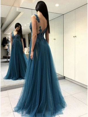 Sexy Tulle Slit Evening Gowns | Sleeveless Appliques A-line Prom Dresses_3