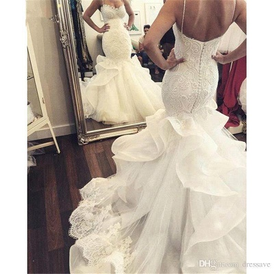 Elegant Mermaid Wedding Dresses Spaghettis Straps Bridal Gowns with Ruffles_4