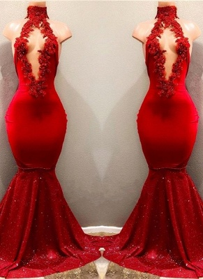 Shiny Red Mermaid Prom Dresses High Keyhole Neckline Evening Gowns_1