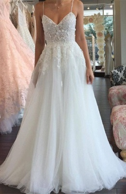 Sleeveless Lace Tulle Romantic Spaghetti-Strap A-line Wedding Dress_2