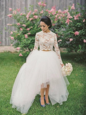 Two-Piece Wedding Dresses Hi-Lo Lace Long Sleeves Tulle Elegant Bridal Gowns_4