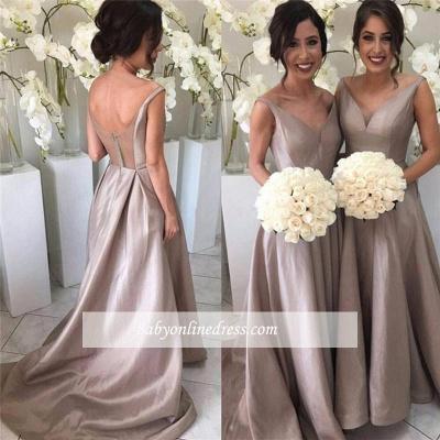 Stretch-Satin Simple V-neck Sleeveless Sheer-Tulle Open-Back Bridesmaid Dress_1