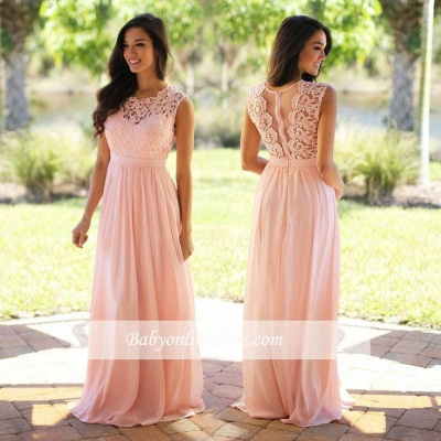 Cheap Sleeveless Lace Prom Dresses Chiffon Pink Sheer Back Long Evening Gowns_1