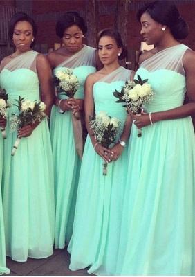 One Shoulder Bridesmaid Dresses Mint Long Chiffon Wedding Guest Dress_1