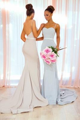 Simple Long Mermaid Bridesmaid Dresses | Spaghettis Straps Backless Wedding Party Dress_4