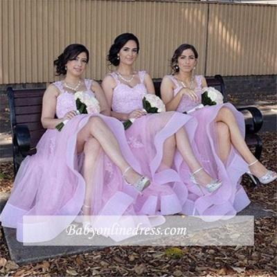 Elegant Appliques A-Line Straps Tulle Lace Bridesmaid Dresses_1