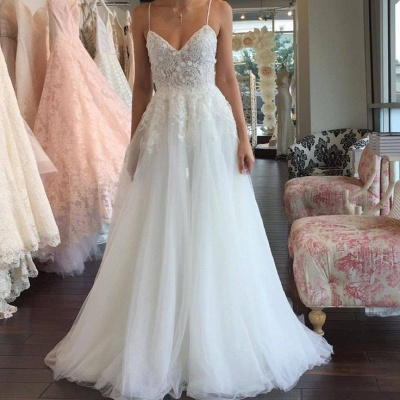 Sleeveless Lace Tulle Romantic Spaghetti-Strap A-line Wedding Dress_3