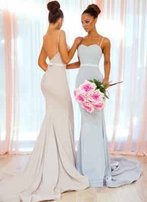Simple Long Mermaid Bridesmaid Dresses | Spaghettis Straps Backless Wedding Party Dress_1