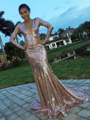2018 Glamorous V-Neck Long-Sleeve Mermaid Sequins Evening Dress_2