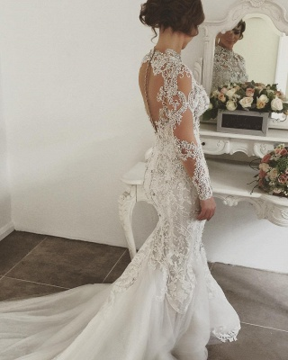 Gorgeous Crystals Mermaid Wedding Dresses | Long Sleeves Sheer Appliques Bridal Gowns_4