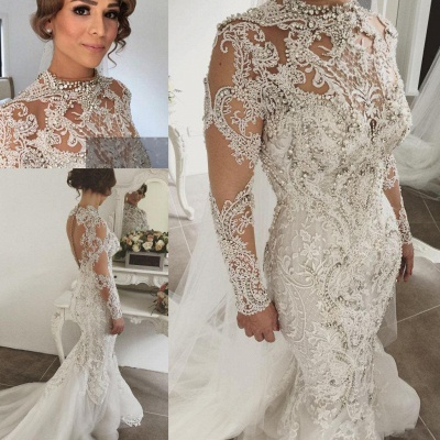 Gorgeous Crystals Mermaid Wedding Dresses | Long Sleeves Sheer Appliques Bridal Gowns_5