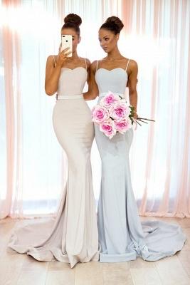Simple Long Mermaid Bridesmaid Dresses | Spaghettis Straps Backless Wedding Party Dress_3