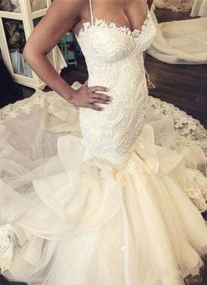 Elegant Mermaid Wedding Dresses Spaghettis Straps Bridal Gowns with Ruffles_1