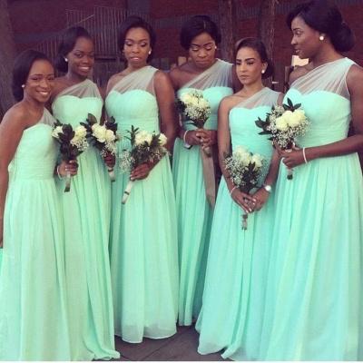 One Shoulder Bridesmaid Dresses Mint Long Chiffon Wedding Guest Dress_3