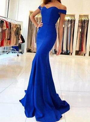 Simple Off-The-Shoulder Mermaid Evening Dresses | Elegant Royal Blue Long Evening Dresses Sweep Train_1