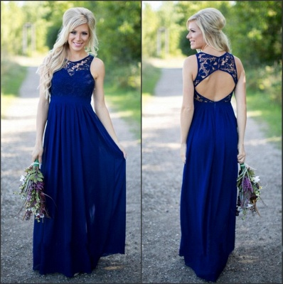 Midnight Blue Bridesmaid Dresses Lace Top Chiffon Open Back A-line Maid of the Honor Dresses_3