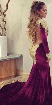 Mermaid Prom Dresses High Neck Long Sleeves Gold Appliques Velvet Long Evening Gowns_1