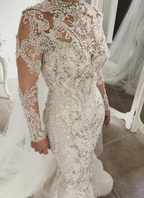 Gorgeous Crystals Mermaid Wedding Dresses | Long Sleeves Sheer Appliques Bridal Gowns_1