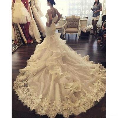 Elegant Mermaid Wedding Dresses Spaghettis Straps Bridal Gowns with Ruffles_5