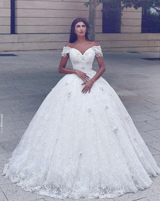 Elegant Lace Off-the-Shoulder Wedding Ball Gowns 2020 Appliques Wedding Dresses with Beadings_1