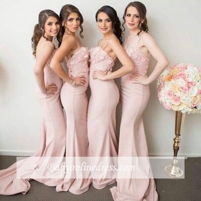 Spaghettis-Straps 3D-Floral-Appliques Mermaid Pink Bridesmaid Dresses_1